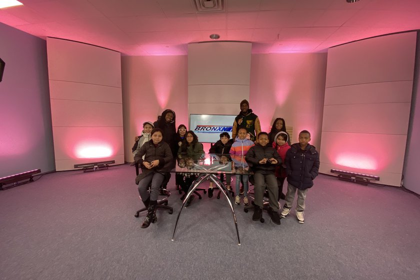 Brilla College Prep Middle School Visits BronxNet TV at the Hub